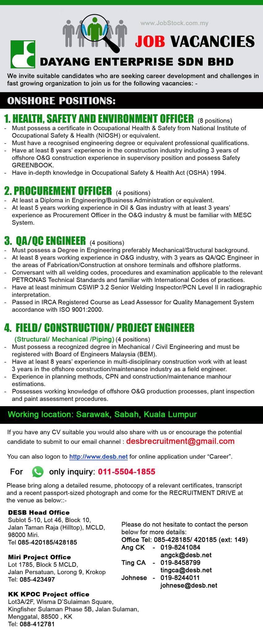 Dayang Enterprise Sdn Bhd Oil Gas Jobs Miricommunity Net
